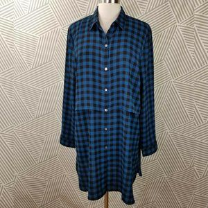 J Jill Size Large XL Buffalo Plaid Casual Long
